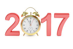 Happy New Year 2017 concept with alarm clock, 3D rendering. On white background Royalty Free Stock Image