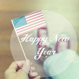 Happy New Year Concept With American Flag Stock Image