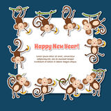 Happy New Year 2016. 2016 concept New Year background of funny monkey. You can add as isolated icon. Set chinese zodiac postcard 2016 with the monkey Stock Photo