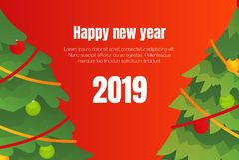 Happy New Year 2019 concept background, isometric style. Happy New Year 2019 concept background. Isometric illustration of Happy New Year 2019 vector concept royalty free illustration