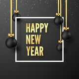 Happy New Year Concept. Black Christmas Balls with Golden Ribbons and Festive Gold Text in White Frame. Vector illustration. Isolated on dark background vector illustration