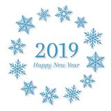 2019 and Happy New Year concept with blue snowflakes around it in circle shape. Abstract wreath and seasonal design on white background vector illustration
