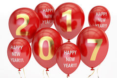 Happy New Year concept with colored party balloons, 3D rendering Royalty Free Stock Photo