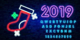 2019 Happy New Year concept with colorful neon lights. Design elements for presentations, flyers, cards, leaflets, posters or post. Cards. Vector Illustration stock illustration