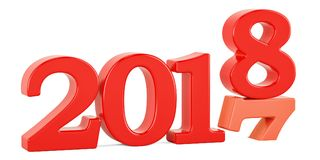Happy New Year 2018 concept, 3D Stock Photography