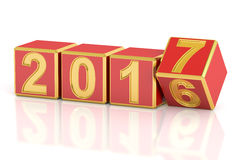 Happy New Year 2017 concept, 3D rendering Royalty Free Stock Photo