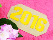 Happy new year concept decoration with artificial flower Stock Photo