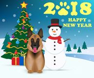 Happy New 2018 Year concept. Dog is symbol Chinese zodiac of new 2018 year and Snowman. Christmas tree with gifts. Vector illustra. Tion. Eps 10 Royalty Free Stock Photo
