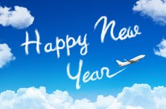 Happy New year concept. Drawing by airplane vapor contrail in sky. Happy New year concept. Drawing by airplane vapor contrail in sky Royalty Free Stock Photos