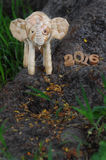 Happy New Year 2016 concept, elephant rattan handmade and wood number idea Royalty Free Stock Photo