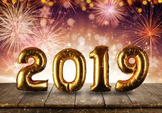 Happy New Year concept with fireworks background royalty free stock image