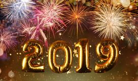 Happy New Year concept with fireworks background royalty free stock photos
