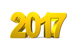 2017 happy new year concept. Golden numbers, 3D illustration Royalty Free Stock Photos