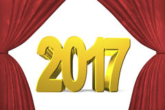2017 happy new year concept. Golden numbers with stage curtains, 3D illustration Stock Images
