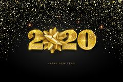 Happy New Year 2020, concept of greeting card with falling golden confetti