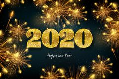 Happy New Year 2020, concept of greeting card