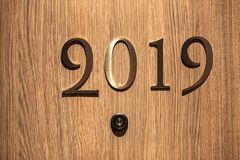 Happy New Year 2019 concept, lettering on the Hotel door stock photography