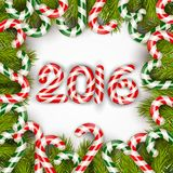 Happy new year 2016 with concept lollipops and pine tree Royalty Free Stock Photography