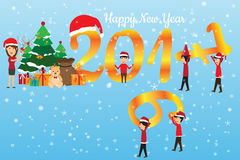 Happy new year concept. man change the number 2016. Are 2017 and celebration that have the gifts, vector illustration Royalty Free Stock Photo