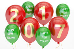 Happy New Year concept with multicolored party balloons, 3D rend Royalty Free Stock Photos