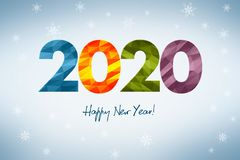 Happy New Year 2020, concept of a New Year`s greeting card with winter theme composed of colorful geometri