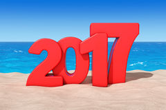 Happy 2017 New Year Concept. 2017 New Year Sign at Sunny Beach. Happy 2017 New Year Concept. 2017 New Year Sign at Sunny Beach extreme closeup. 3d Rendering Stock Illustration