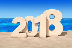 Happy 2018 New Year Concept. 2018 New Year Sign at Sunny Beach. Happy 2018 New Year Concept. 2018 New Year Sign at Sunny Beach extreme closeup. 3d Rendering Royalty Free Stock Photo