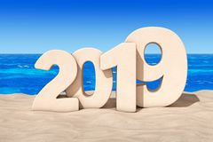 Happy 2019 New Year Concept. 2019 New Year Sign at Sunny Beach. Happy 2019 New Year Concept. 2019 New Year Sign at Sunny Beach extreme closeup. 3d Rendering stock illustration