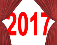 2017 happy new year concept. Red numbers with stage curtains, 3D illustration Royalty Free Stock Image