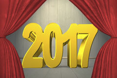 2017 happy new year concept. Red numbers with stage curtains, on old wooden wall and floor background Royalty Free Stock Image