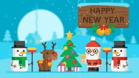 Happy New Year Concept Santa Claus Reindeer Snowmen and Christmas Tree