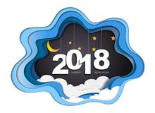 2018 happy new year concept, Symbols of beginning and celebration, Trendy template inspiration for your design. 2018 happy new year concept, Symbols of Stock Illustration