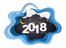 2018 happy new year concept, Symbols of beginning and celebration, Trendy template inspiration for your design. 2018 happy new year concept, Symbols of Royalty Free Illustration