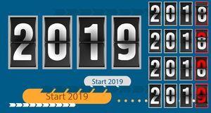 Happy new year concept template analog counter countdown timer, retro flip number counter from 2018 to 2019 year. Happy new year concept template analog counter vector illustration