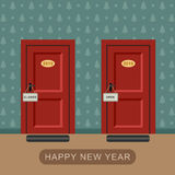 Happy new 2016 year. Concept with two doors symbolizing the year royalty free illustration