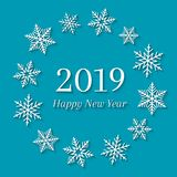 2019 and Happy New Year concept with white snowflakes. Greeting card design stock illustration