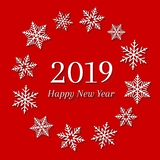 2019 and Happy New Year concept with white snowflakes. Abstract and festive greeting card design on red background stock illustration