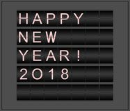 Happy New Year 2018. Conceptual background stylized as mechanical information board.  royalty free illustration