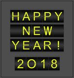 Happy New Year 2018. Conceptual background stylized as mechanical information board.  vector illustration