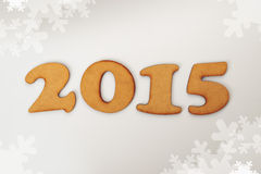 Happy New 2015 Year. Conceptual background with wooden figures Stock Image