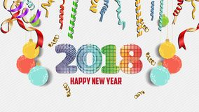 Happy new year 2018 confetti celebration. Colorfull greeting decoration Stock Photography