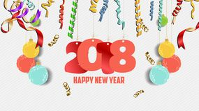 Happy new year 2018 confetti celebration. Colorfull  greeting decoration Stock Photos