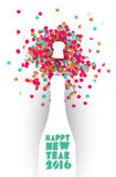 Happy new year 2016 confetti champagne party color Stock Image