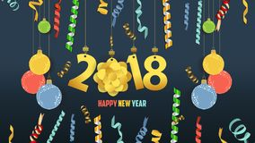 Happy new year 2018 confetti and gold clock celebration. Colorfull  greeting decoration Stock Photography