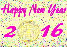 Happy New Year 2016 with confetti. And an iridescent golden ball instead of the zero in a landscape format stock illustration