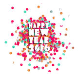 Happy new year 2016 confetti party holiday poster. Happy new Year celebration 2016 with party confetti template background. Ideal for holiday greeting card Stock Photo