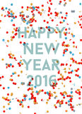 Happy new year 2016 confetti party holiday poster Royalty Free Stock Image
