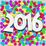 Happy 2016 new year with confetti. Happy 2016 new year sign with colorfil confetti. Vector paper illustration stock illustration