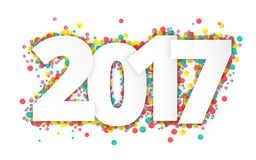 Happy 2017 new year with confetti. Vector paper illustration Stock Photography