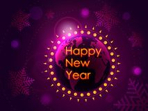 Happy new year congratulation on the background of the planet earth with the rising sun. Vector illustration. Earth, snowflakes, glare from the sun. Bright royalty free illustration
